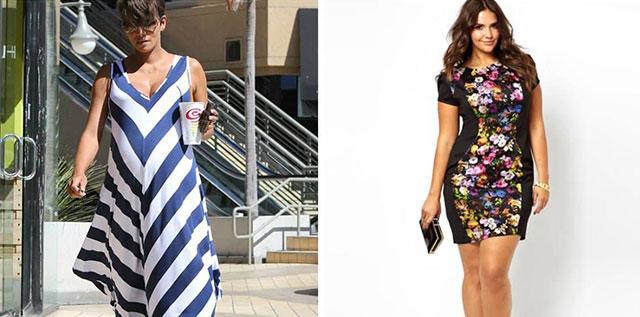 Для полных фигур предпочтительна цветочная тематика, так как она позволяет подобрать подходящий узор на платье