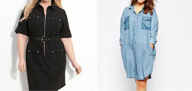 Прямой или трапециевидный силуэт платья-рубашки подойдет женщинам с полной фигурой типа «яблоко»