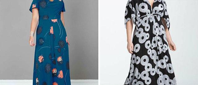 Складки на платье маскируют полные бедра и живот