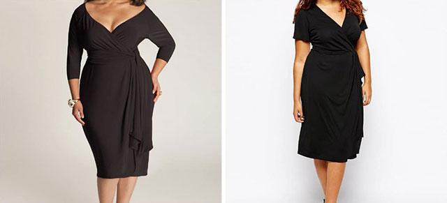 Глубокий V-образный вырез на платье большого размера