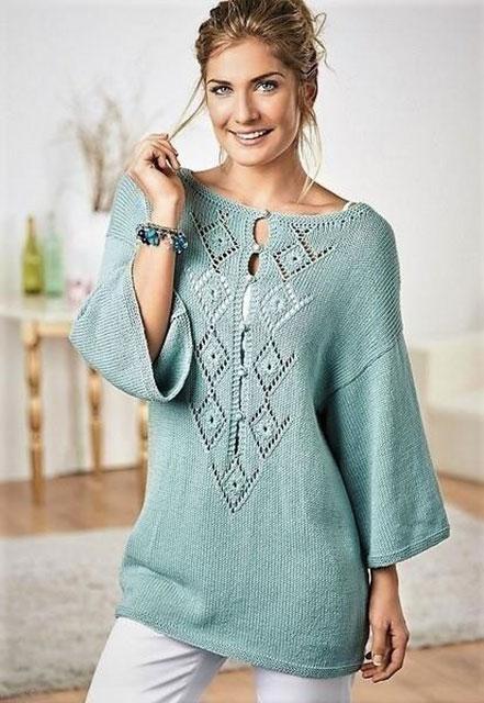 Туника-пуловер свободного силуэта из хлопка и бамбука
