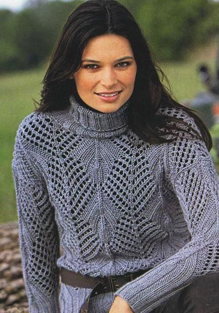 Шерстяной ажурный свитер серого цвета