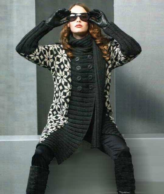 Жаккардовое пальто с норвежским узором с шарфом