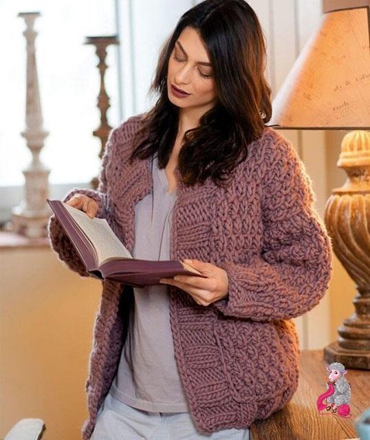 Короткое пальто для женщин из толстой пряжи