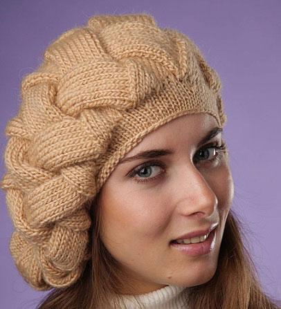 Как связать берет с объемной большой косой
