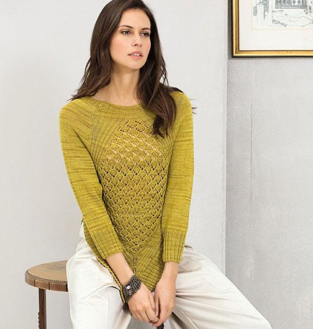 Пуловер реглан с ромбами из горчичной смесовой пряжи