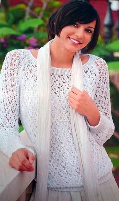 Пуловер реглан из ажурных ромбов