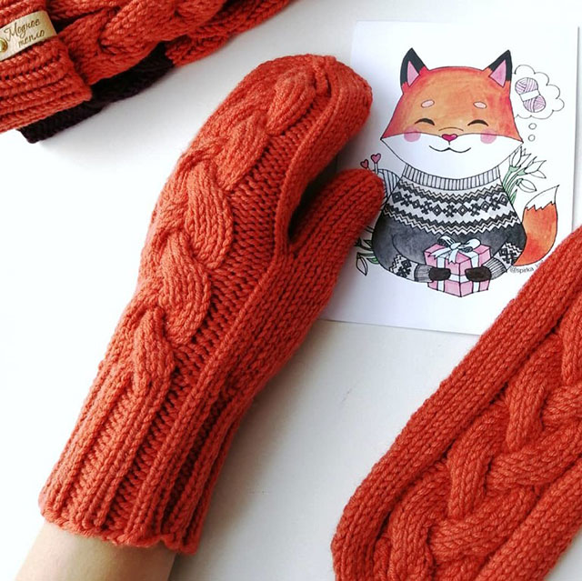 Пошаговый мастер-класс вязания варежек красного цвета с косой из пряжи мериноса