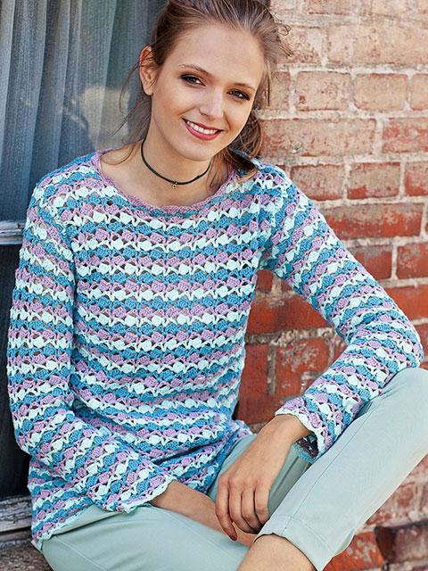 Разноцветный прямой пуловер в горизонтальную полоску с длинными рукавами