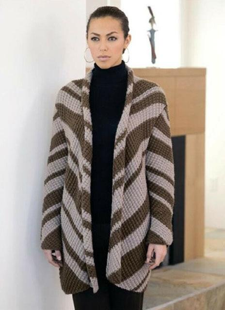 Полосатое пальто узором рис из шерстяной пряжи