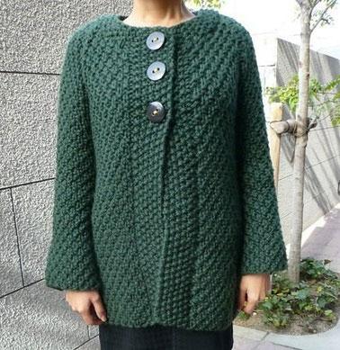 Зеленое пальто с рисунком «двойной рис»