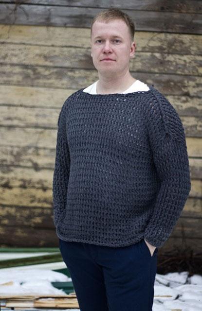 Мужской свитер кольчуга с пояснительным описанием