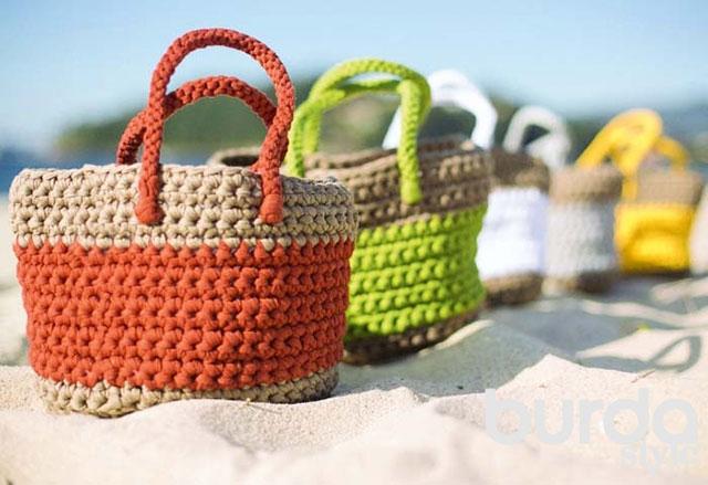 Вместительная и прочная пляжная сумка за счет использования толстой пряжи