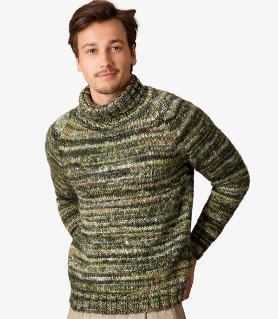 Меланжевый свитер с высоким воротником для мужчин
