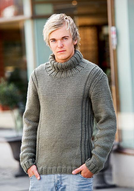 Серый теплый свитер мужской с высоким воротником из мохера с шерстью