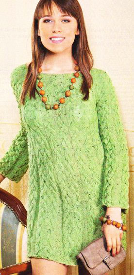 Зеленое платье-туника из альпаки