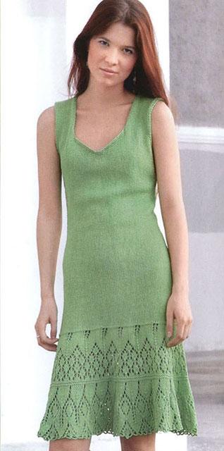 Описание со схемой вязания зеленого платья без рукавов из хлопка