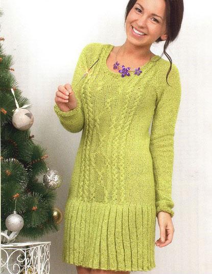 Ярко-зеленое платье из мерсеризованного хлопка в составе с метанитом на зиму