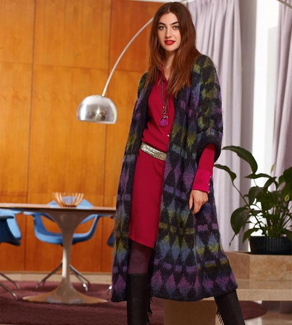 Длинный жилет-пальто с расклешенным силуэтом из мохера и шерсти