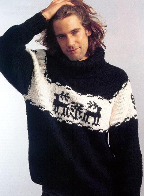 Пуловер с оленями для мужчин из мериносовой шерсти