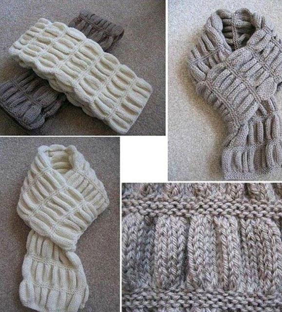 Узор «Гармошка» для мужского шарфа