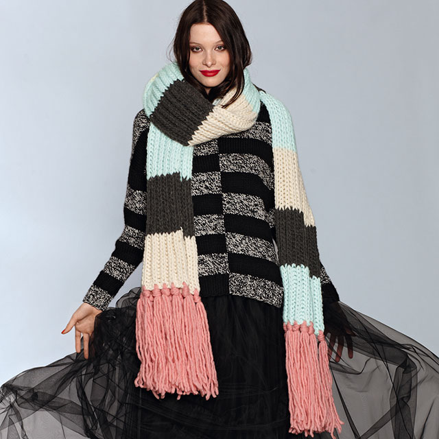Большой цветной шарф с бахромой с полосами в стиле колор-блок