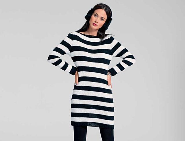 Платье с длинным рукавом в черно-белую полоску из шелковой пряжи