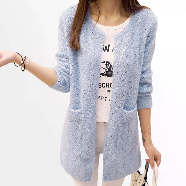 Модный кардиган Серебристый туман жемчужным узором с карманами