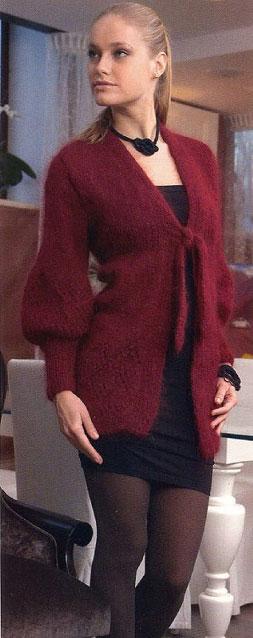 Мохеровый жакет бордового цвета с декоративной планкой
