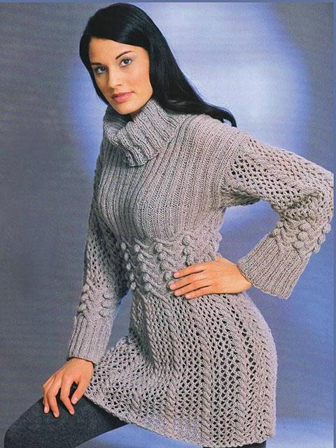 Узорчатое шерстяное платье-туника Эльга