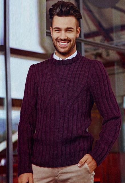 Классический свитер для мужчин с круглым воротником