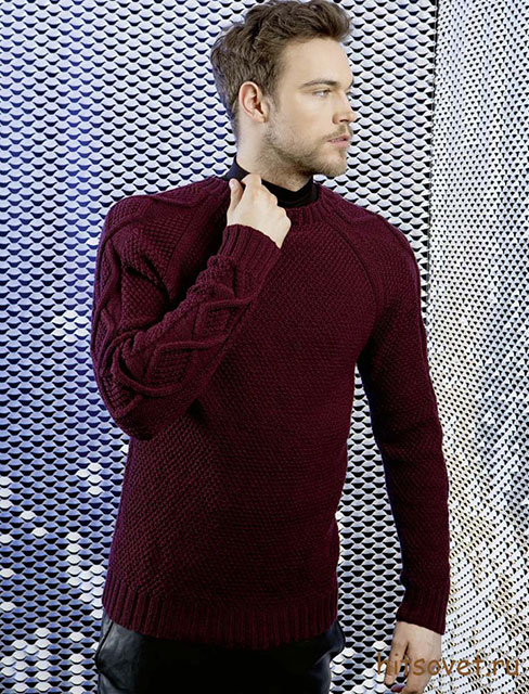 Мужской пуловер бордового цвета из мериносовой шерсти