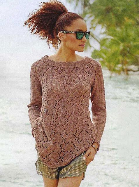 Золотисто-коричневый пуловер реглан с широкой горловиной