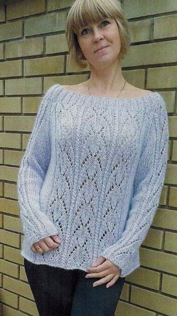 Пуловер цвета лаванды с вырезом лодочкой