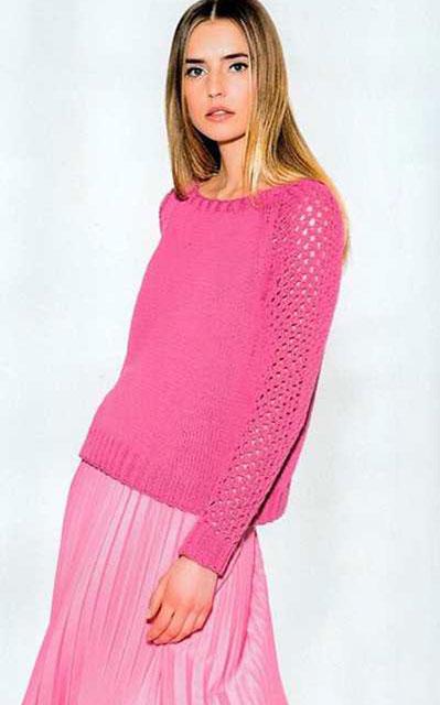 Розовый джемпер с сетчатыми рукавами из хлопка