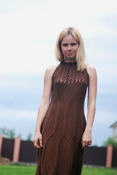 Платье с косами Шоколад