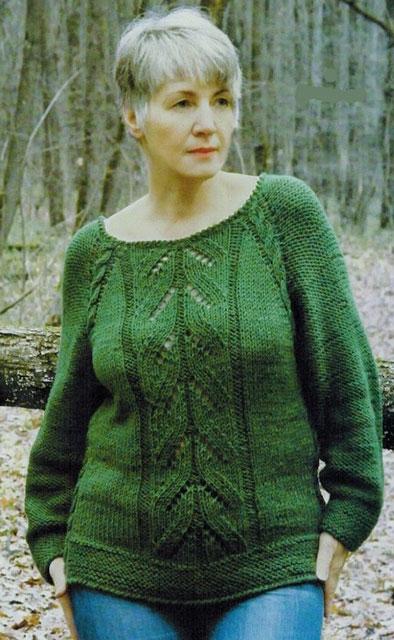 Вязаный пуловер с рукавом реглан вкруговую без швов для солидных дам