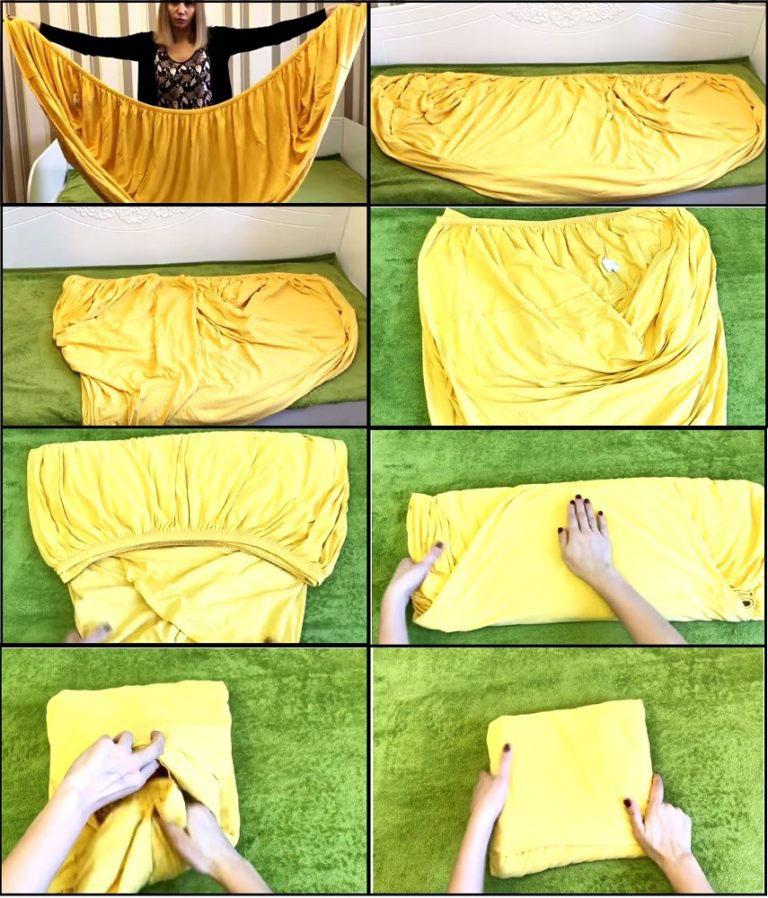 Схема самого удобного способа, помогающая аккуратно сложить данный тип постельного белья